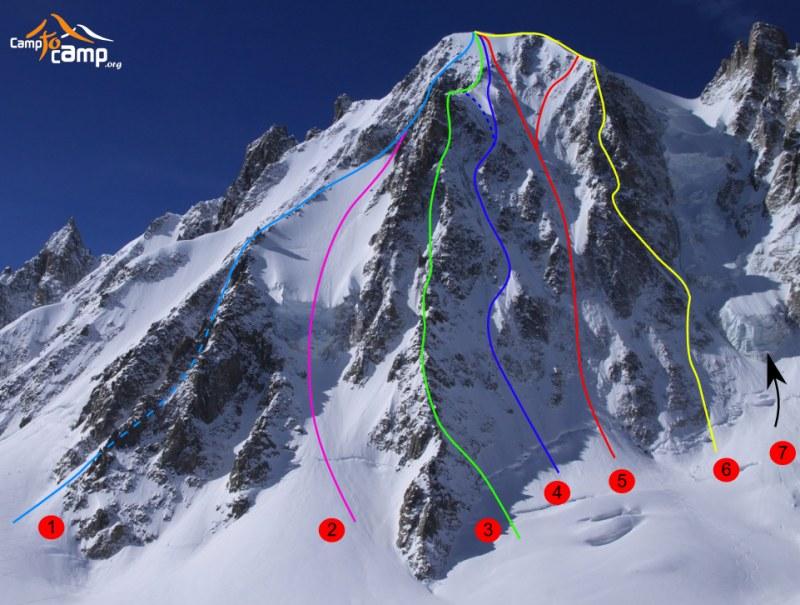 Voie des Suisses is nummer 5, wij deden de rechter uitklim aangezien de directe variant blank ijs was (bron: camptocamp.org)