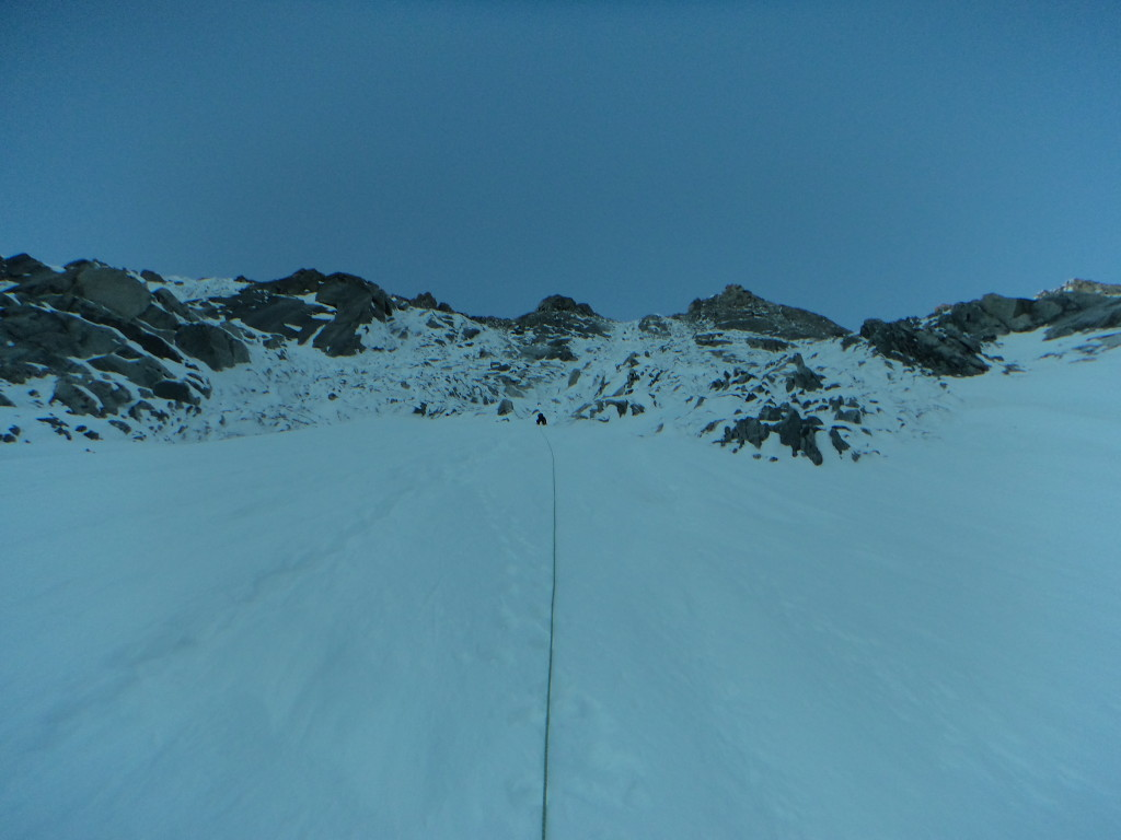 Het eerste deel van de wand, voor 't begin van de eerste steilere stukken.