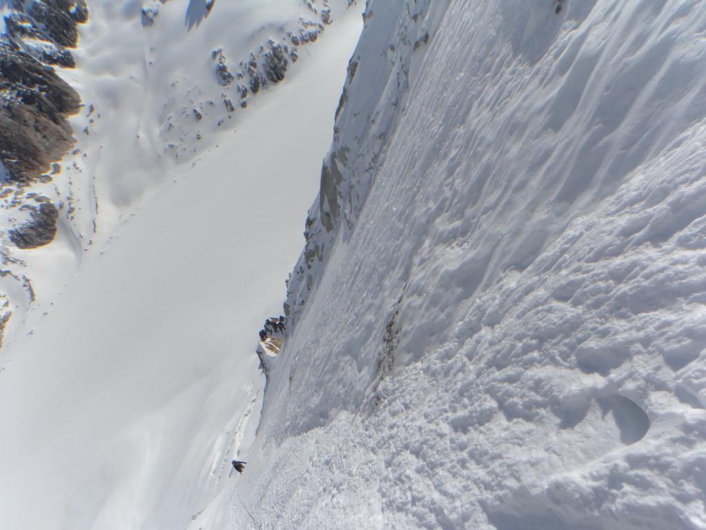 Een blik naar beneden vanuit het bovenste sneeuwveld